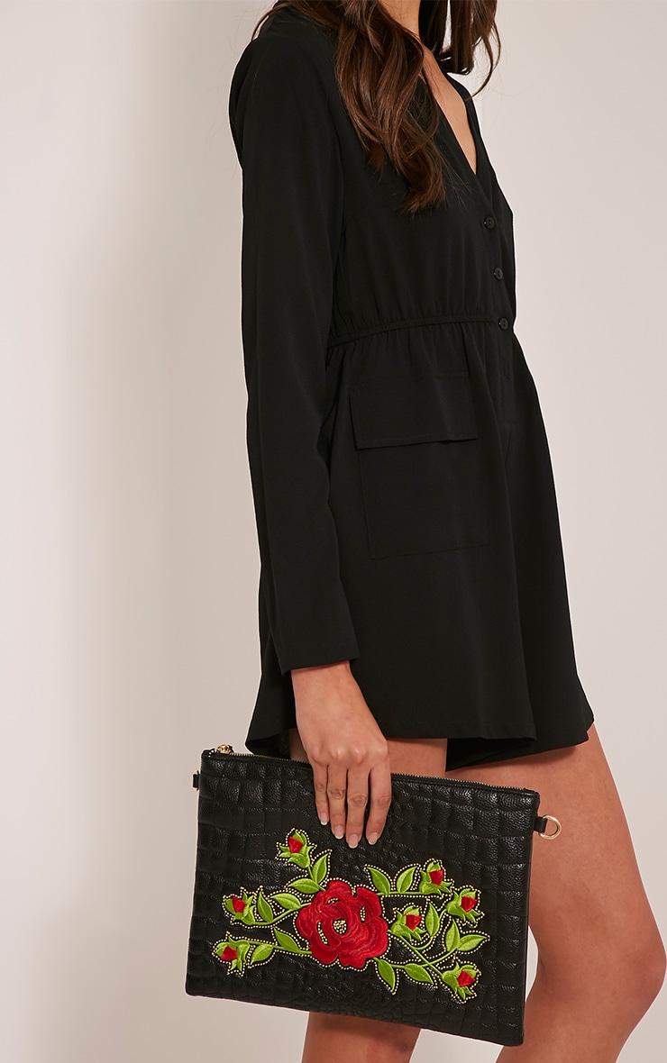 Ilana Black Floral Embroidery Clutch Bag 5
