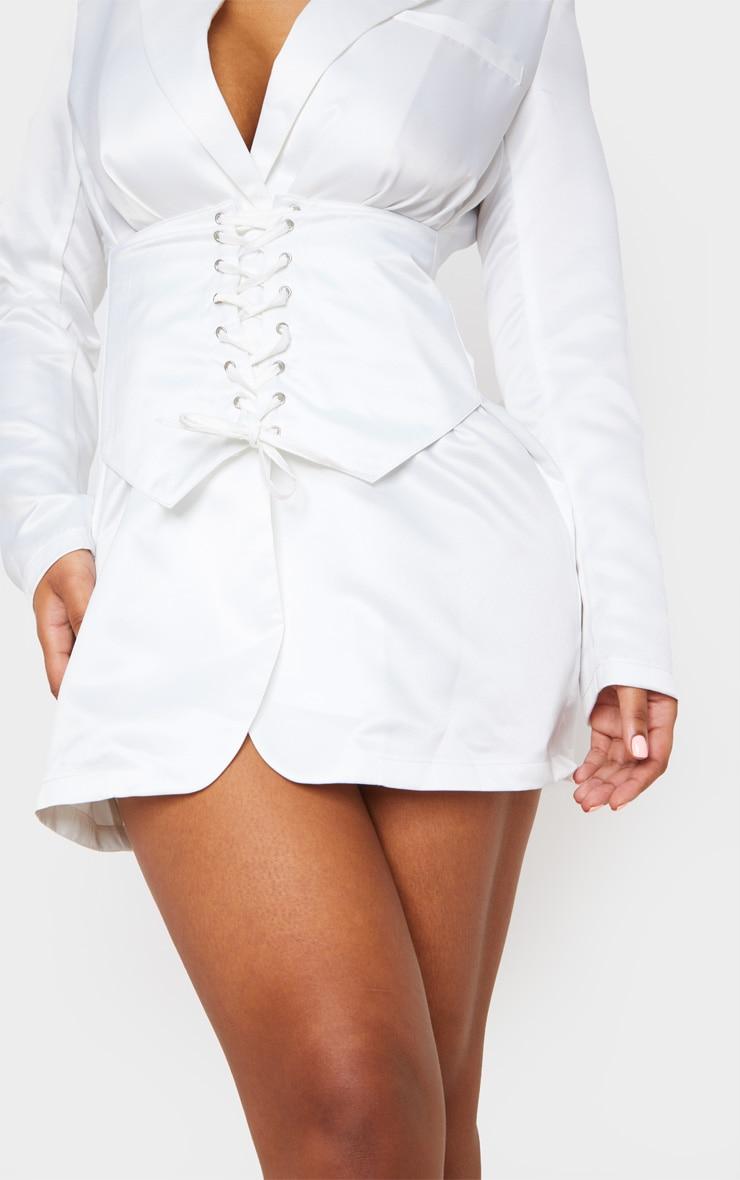 White Woven Corset Waist Blazer Dress 5