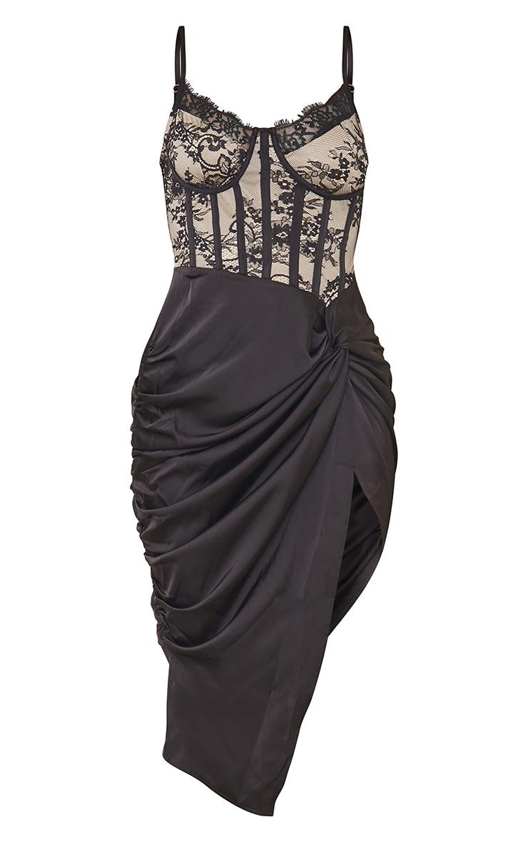 Black Strappy Lace Insert Satin Gathered Midi Dress 5