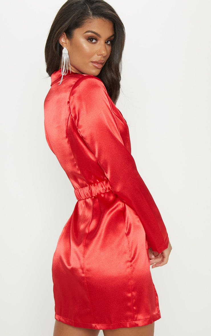 Red Satin Buckle Belted Blazer Dress  2