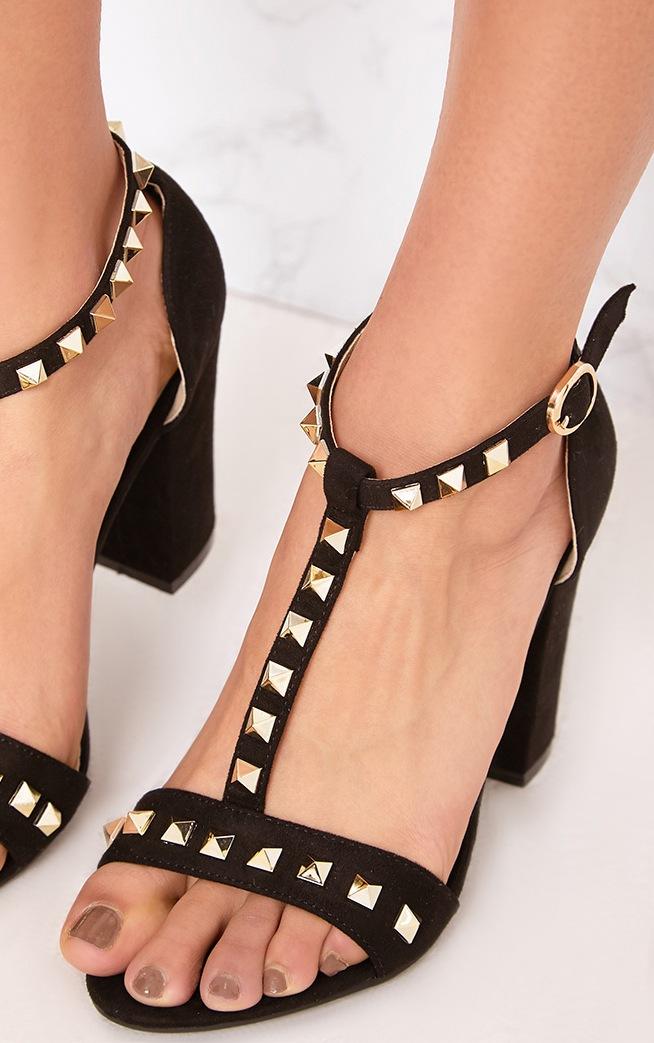 Marinda Black Studded Block Heels 4