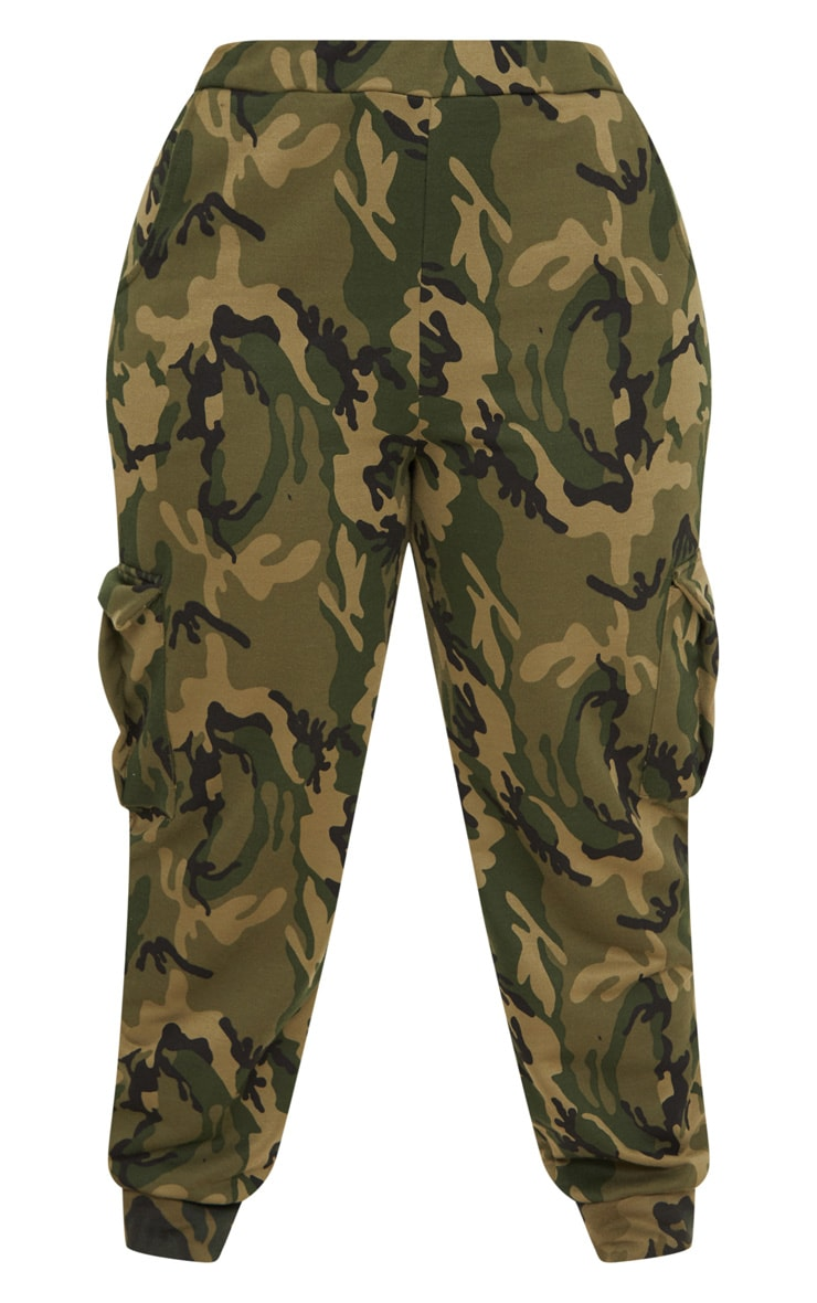 Plus Khaki Camo Pocket Detail Joggers 3