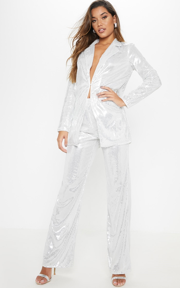 Silver Sequin Wide Leg Trouser 2