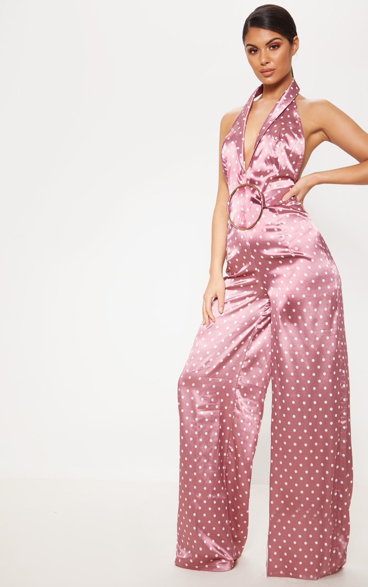 Pastel Pink Polka Dot Ring Detail Jumpsuit 1