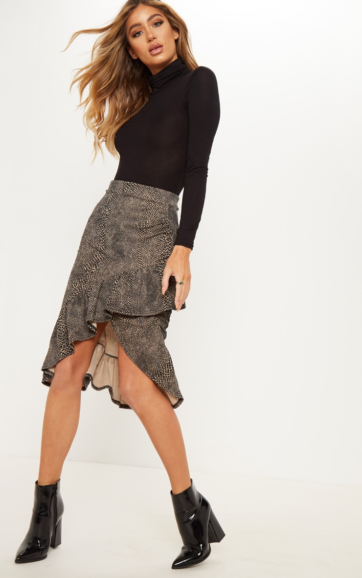 Brown Snake Print Frill Midi Skirt
