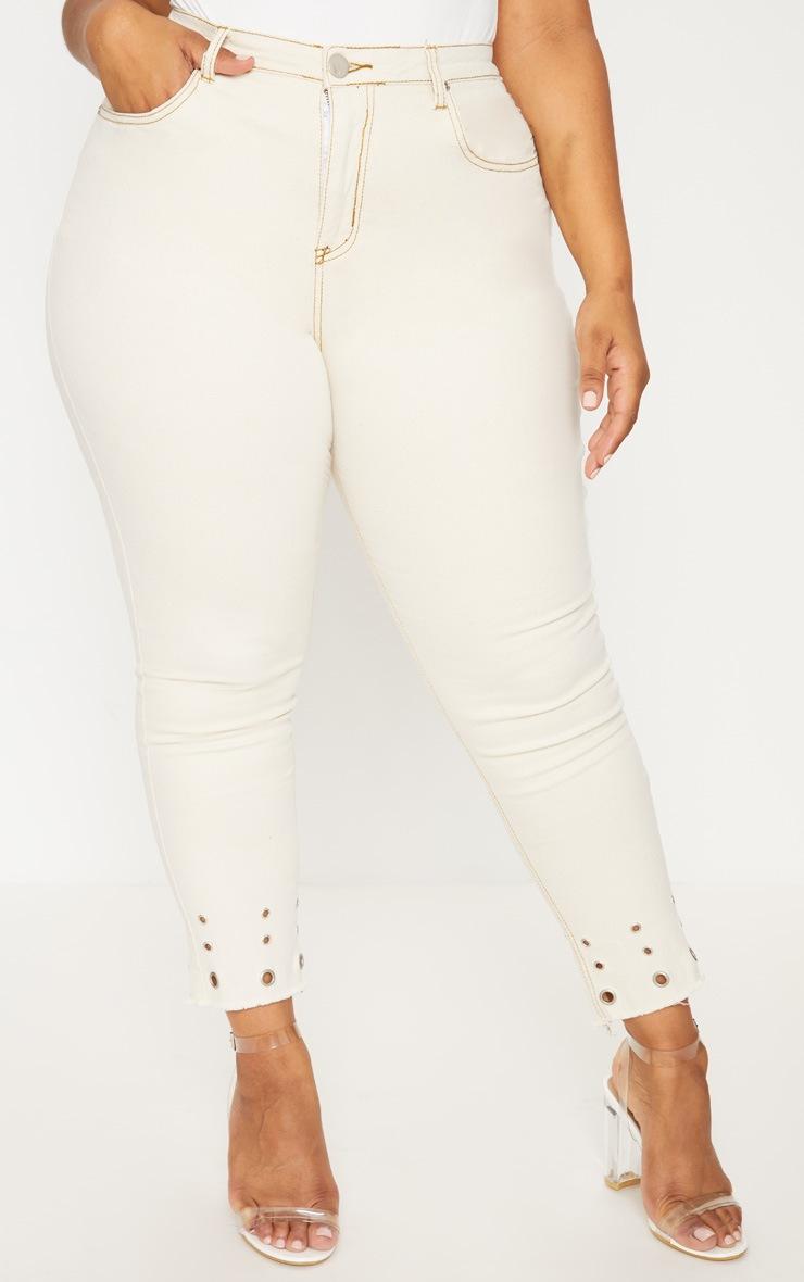 Plus Ecru Eyelet Hem 5 Pocket Skinny Jean 2