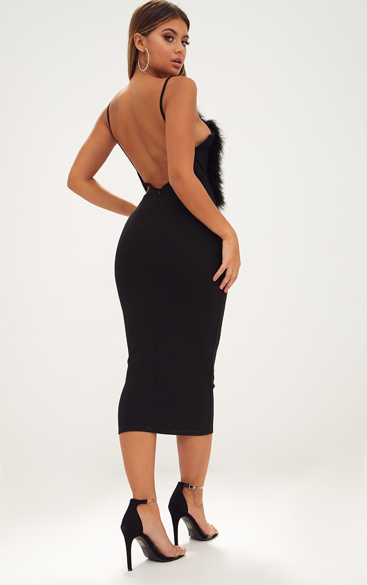 Black Feather Bust Strappy Midi Dress 2