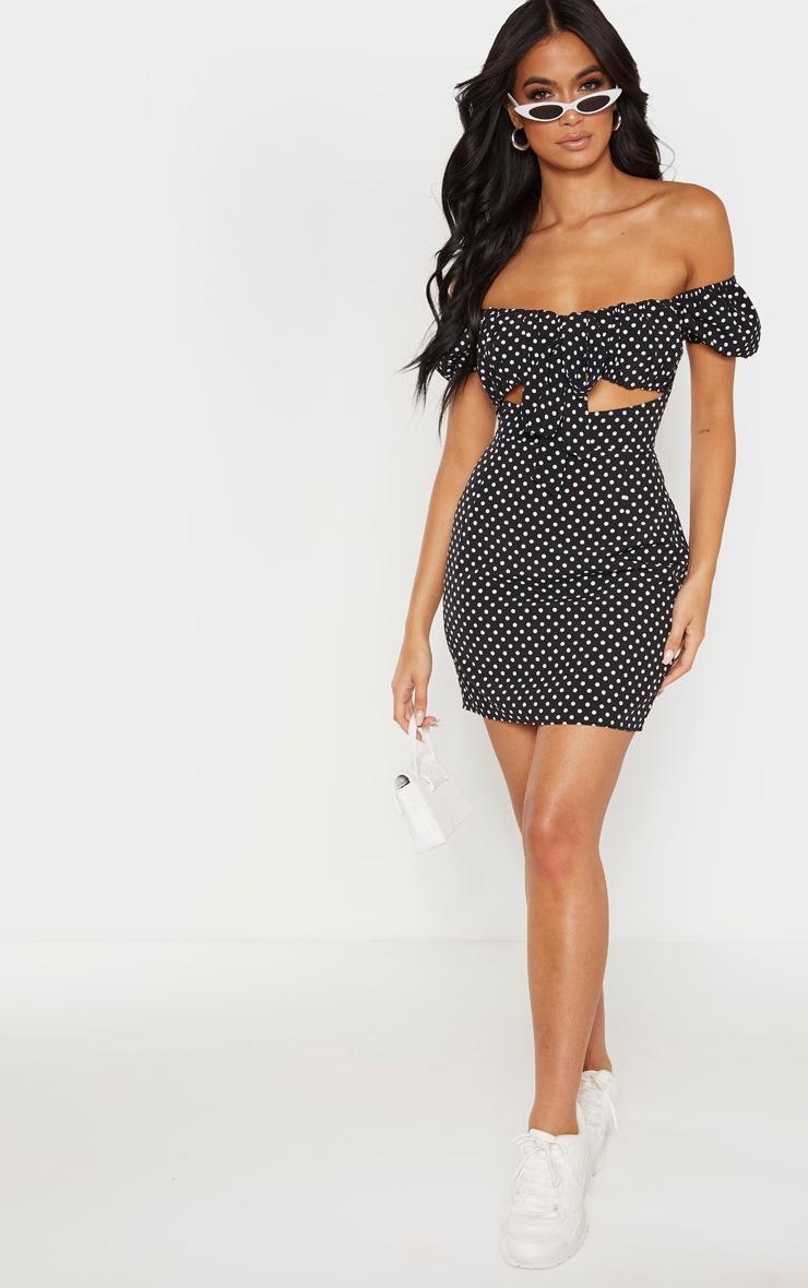 Black Polkadot Bardot Puff Sleeve Tie Front Bodycon Dress 4
