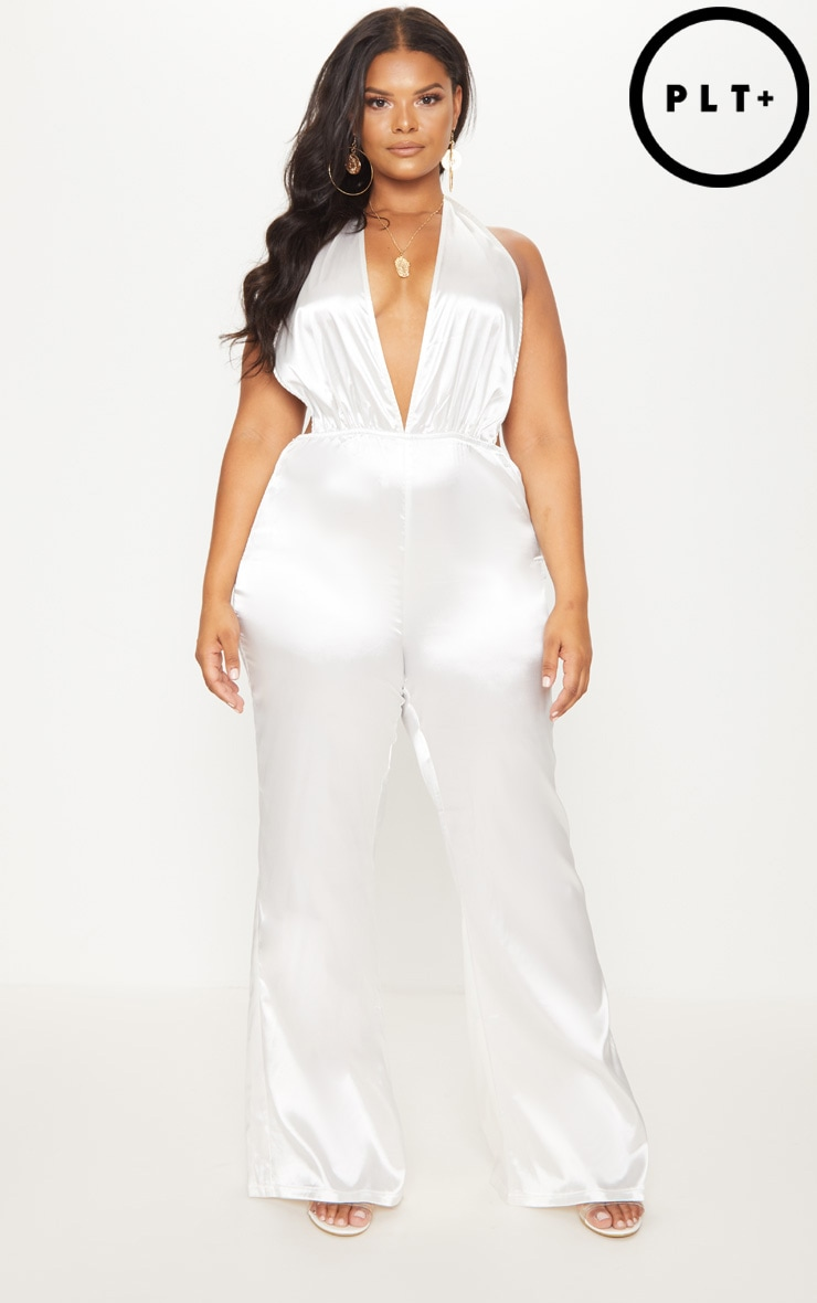 Plus White Halterneck Wide Leg Jumpsuit