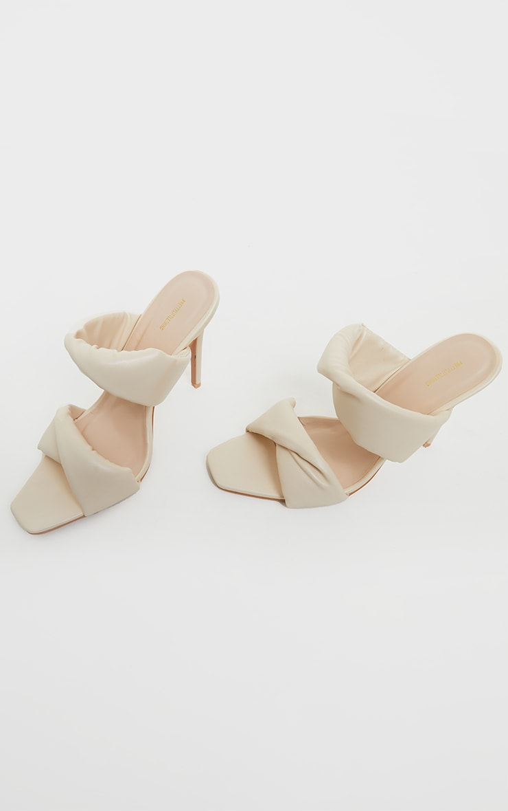 Cream Square Toe Padded Twin Strap High Heel Mules 4