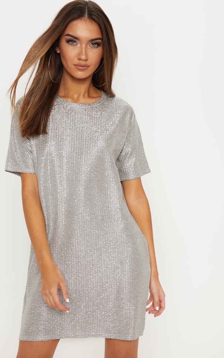 db17e4997a Silver Metallic Crinkle Oversized T Shirt Dress image 1