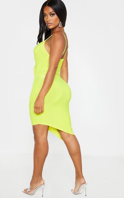Shape Neon Yellow Glitter Strappy Wrap Bodycon Dress
