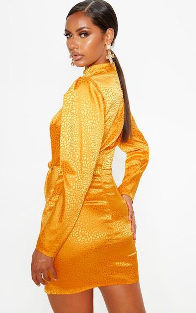 Mustard Satin Printed Keyhole Wrap Bodycon Dress