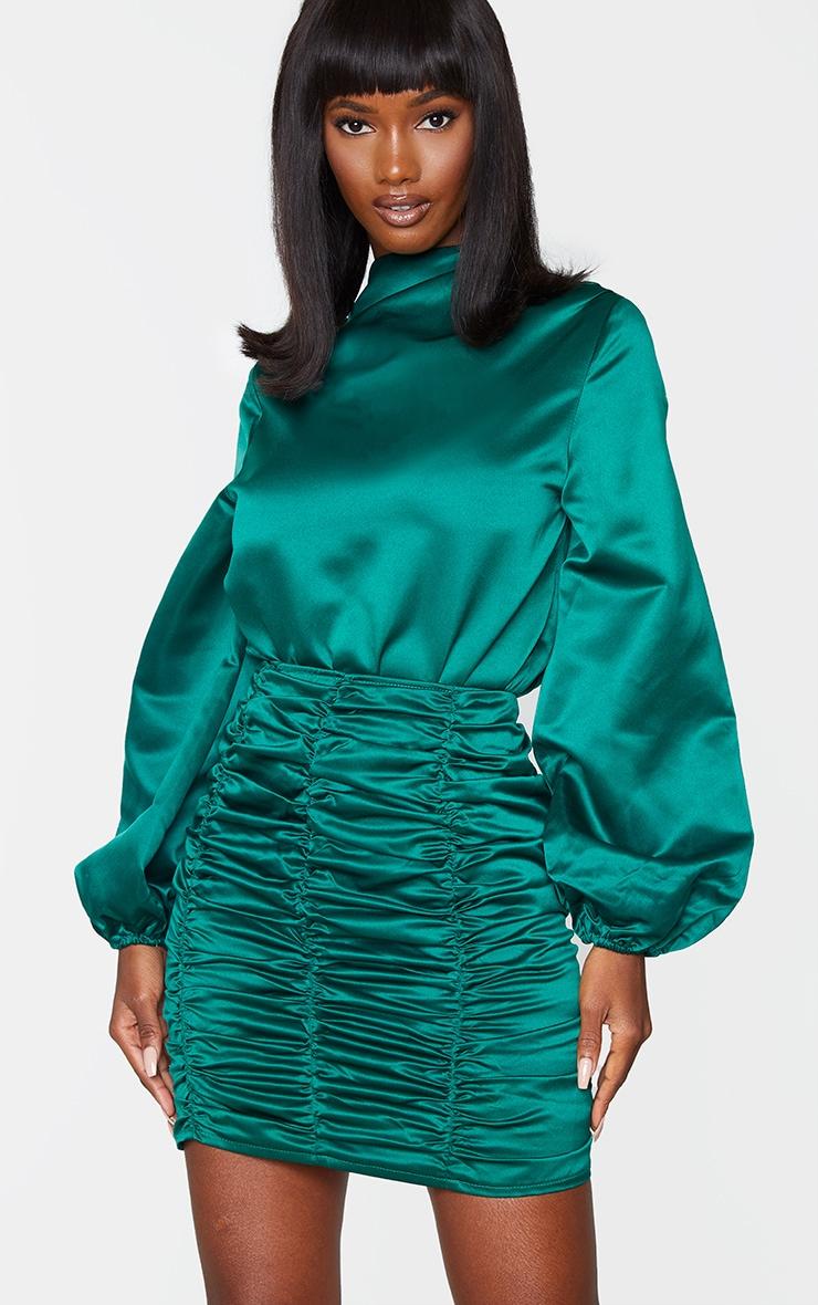 Emerald Green Ruched Panel Mini Skirt 4