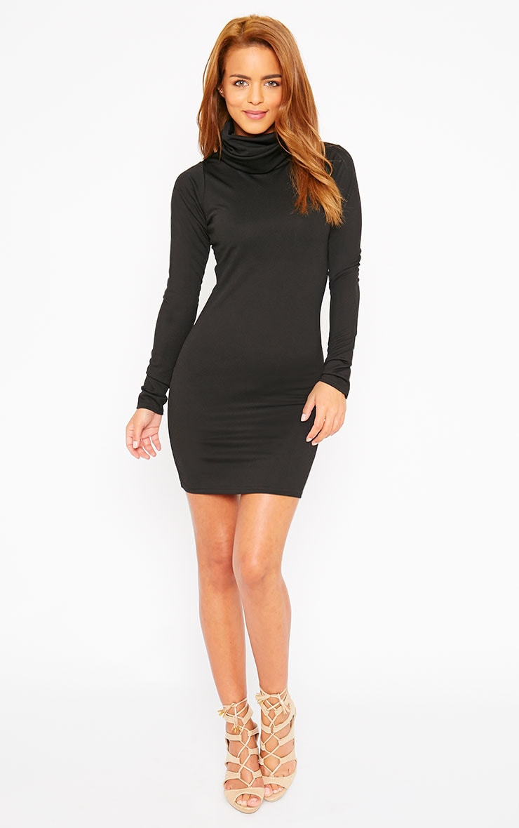 Catrina Black Roll Neck Dress 3