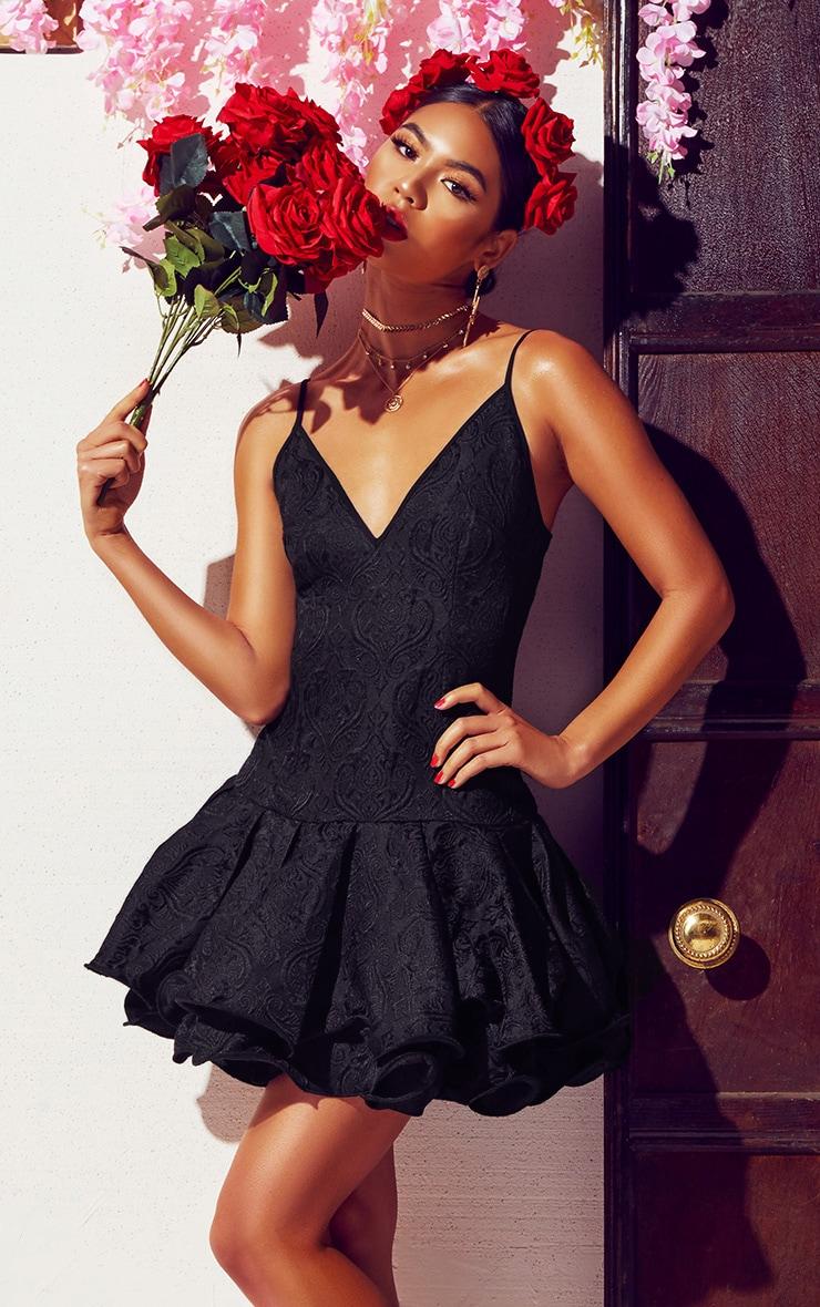 Black Jacquard Plunge Frill Drop Hem  Dress 1