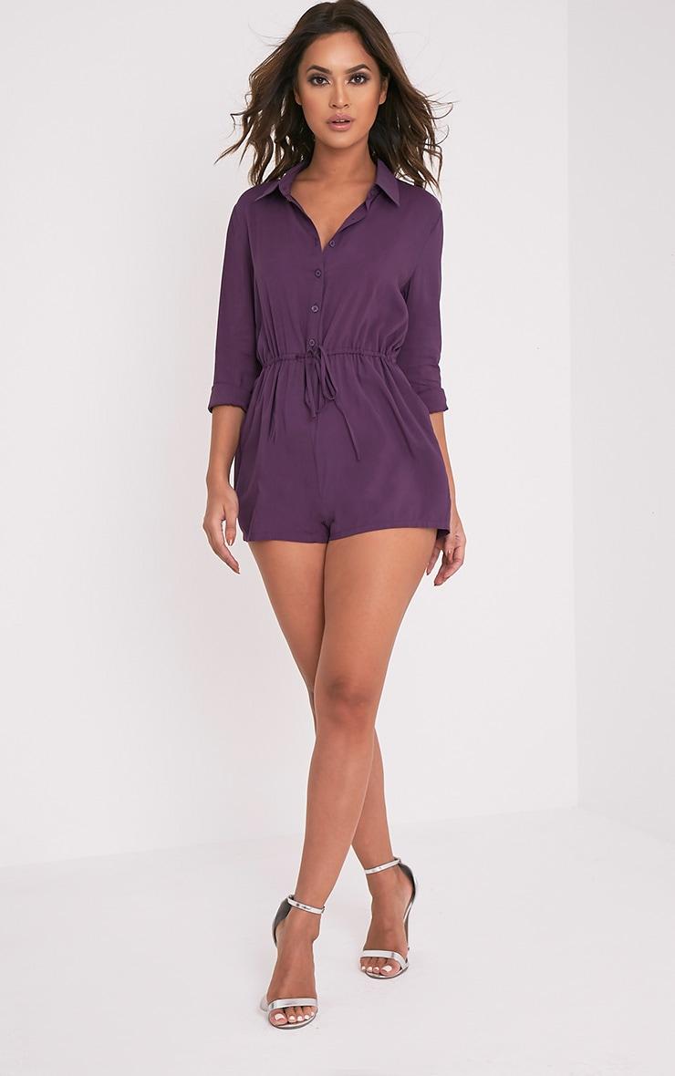 Jenna Aubergine Tie Waist Shirt Playsuit 5