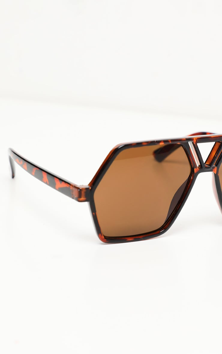 Brown Lens Flat Top Black Frame Hex Shape Sunglasses 2