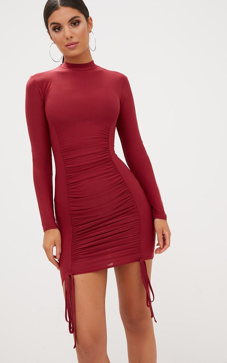 Burgundy Tie Detail Bodycon Dress 1