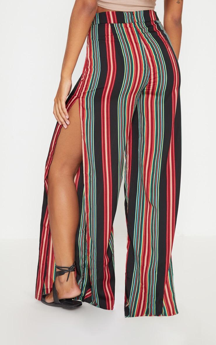 Black Multi Coloured Side Split Wide Leg Trouser 4