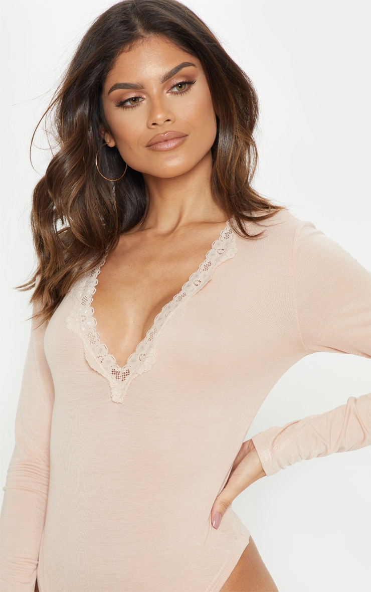 Nude Lace Trim Plunge Long Sleeve Bodysuit 6