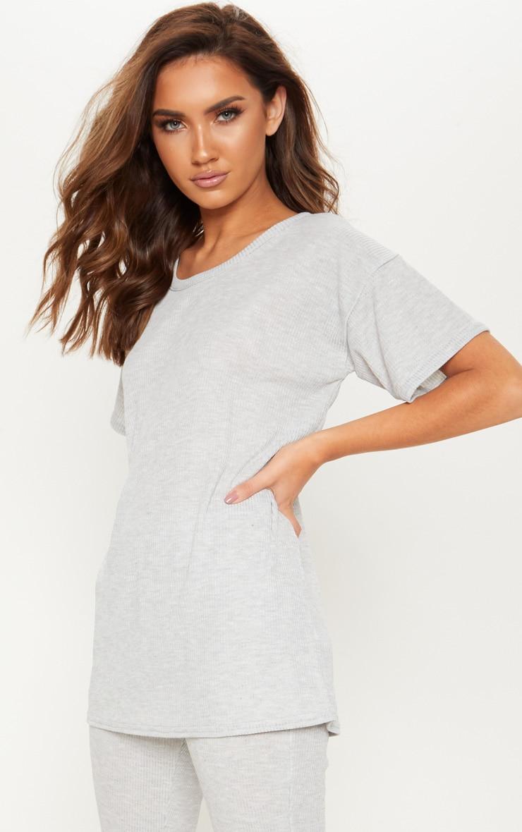 T-shirt oversized en maille grise