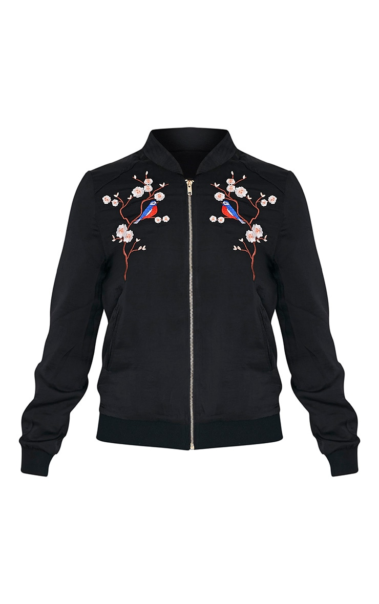 Ebbony Black Satin Embroidered Bomber Jacket 3