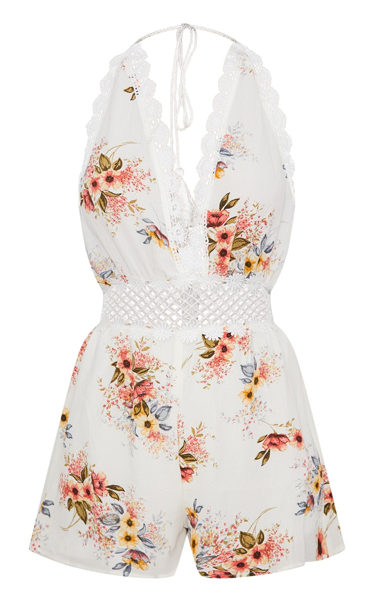 White Floral Crochet Trim Playsuit  3