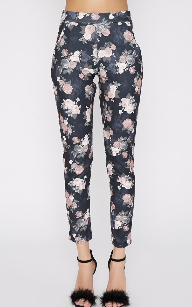 Navarro Navy Floral Trouser 2