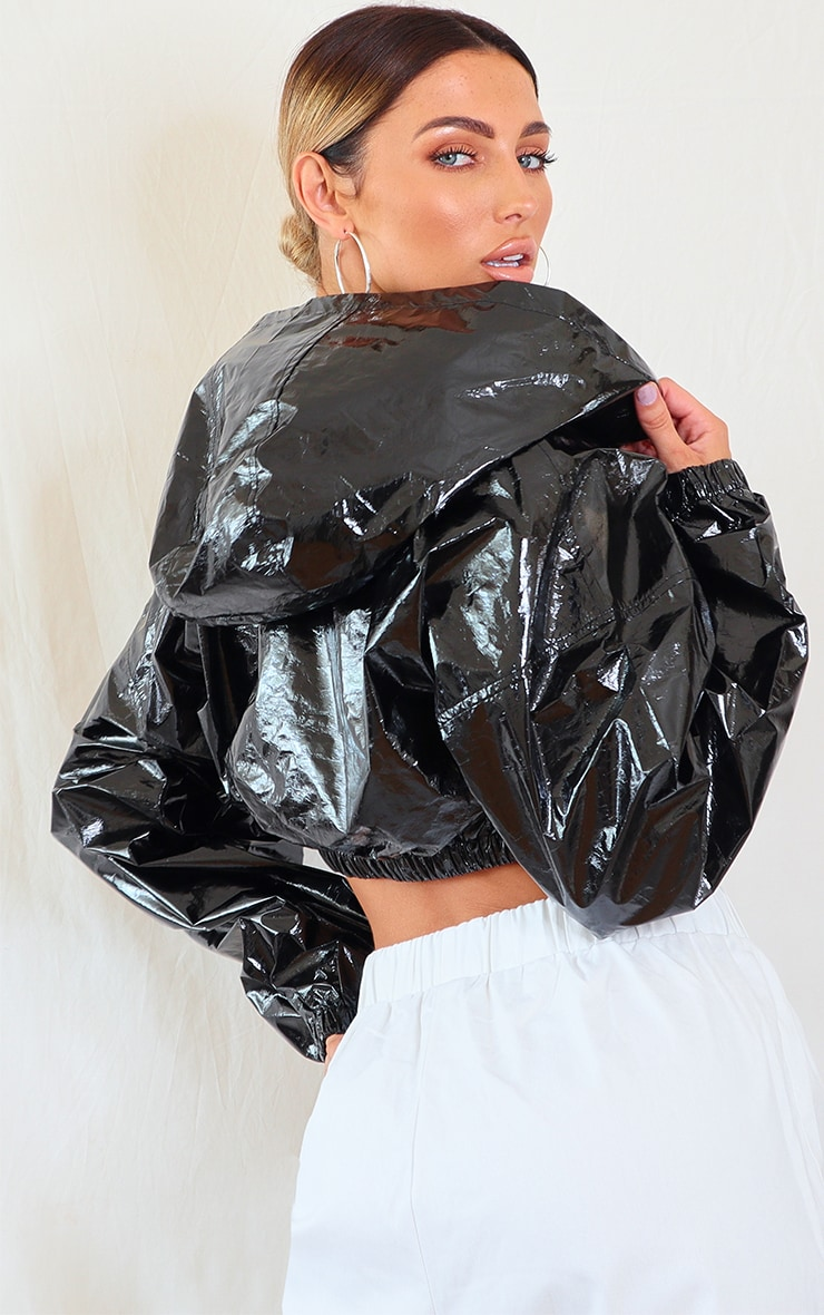 Black Holographic Cropped Hooded Tracksuit Jacket 2