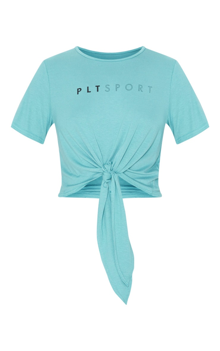 PRETTYLITTLETHING Blue Knot Front Gym Top 4