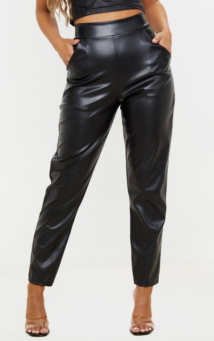 Petite Black High Waisted PU Trouser  2