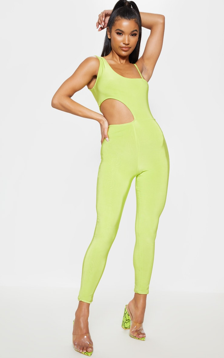 Neon Lime Slinky Waist Cut Out Detail Jumpsuit 4