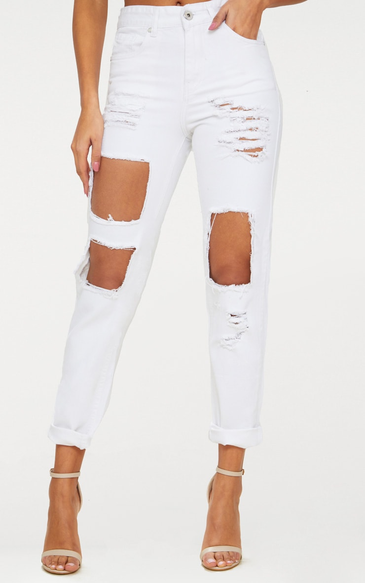 White Open Front Mom Jean 2