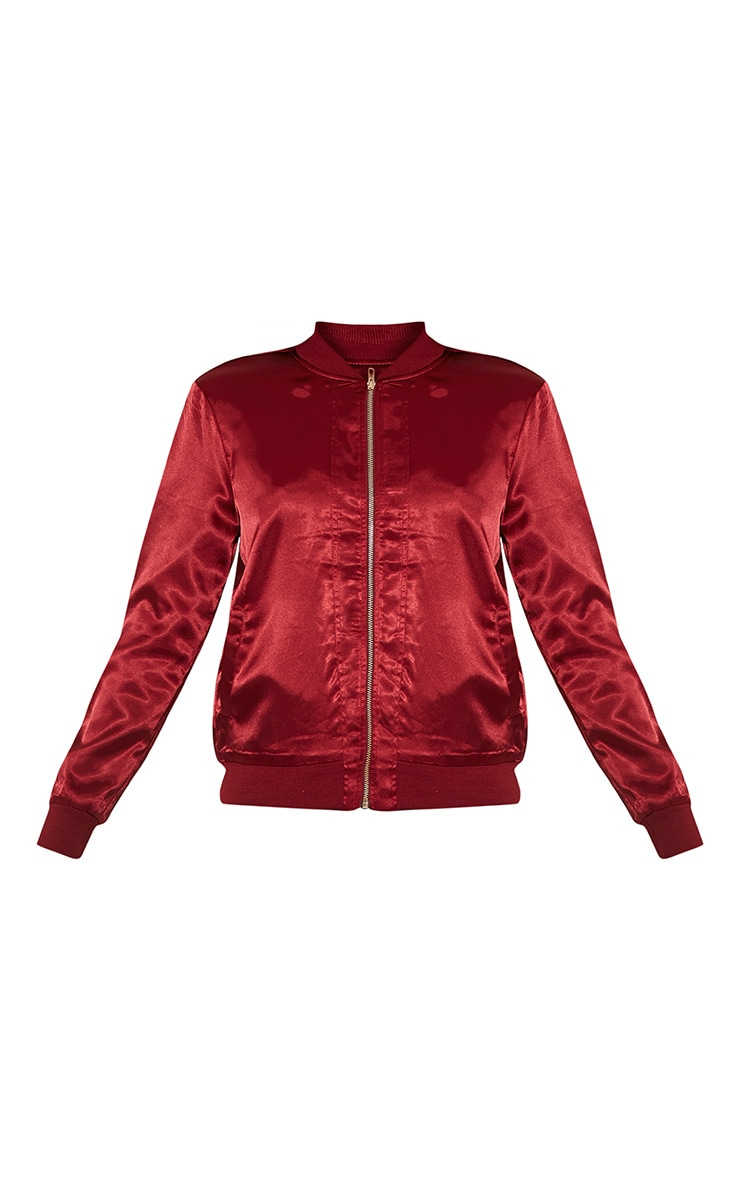 Tonia Red Satin Oriental Embroidered Bomber Jacket 3