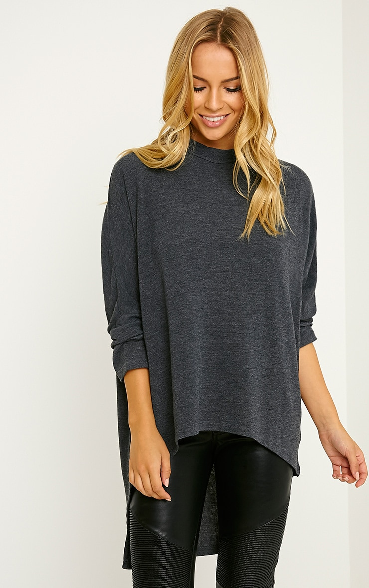Pryah Grey Fine Knit Drop Hem Top 1