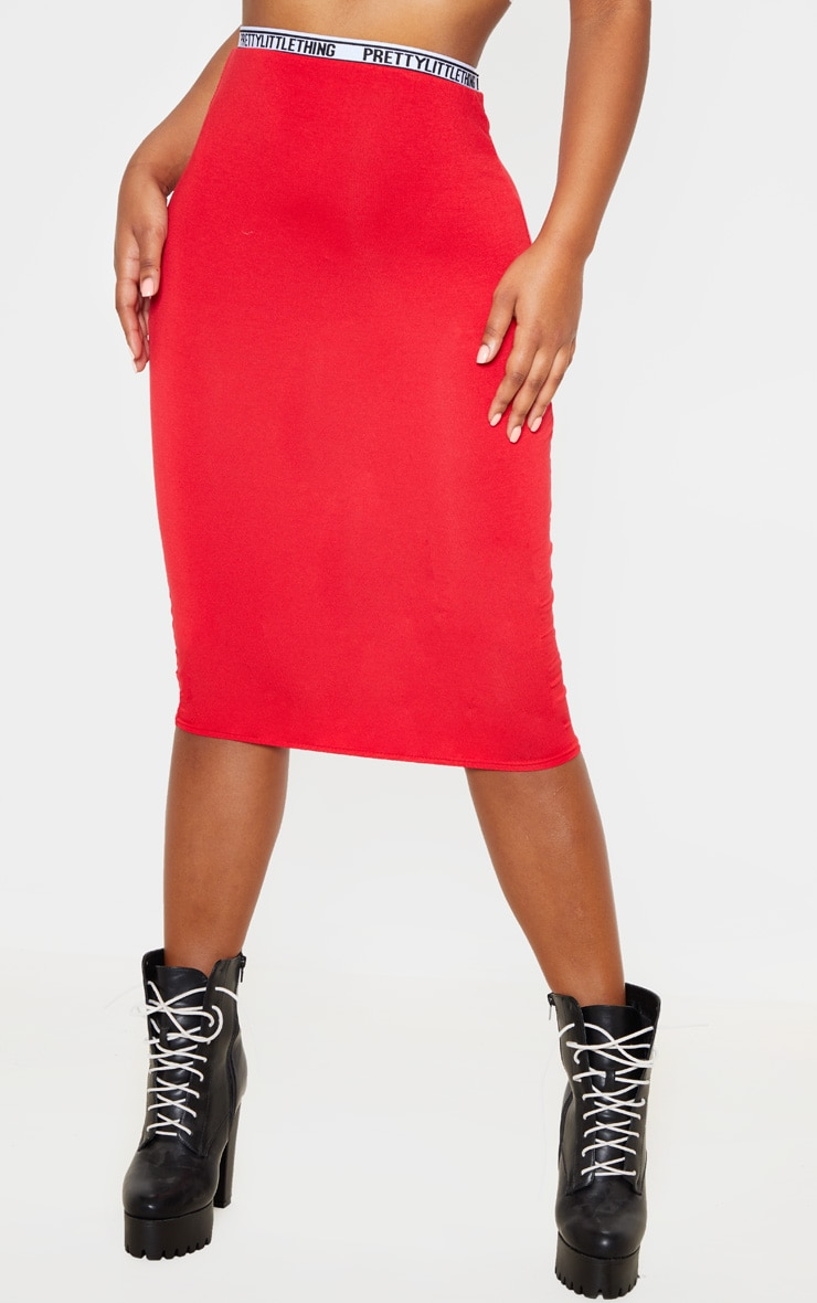 PRETTYLITTLETHING Red Tape Jersey Midi Skirt  2