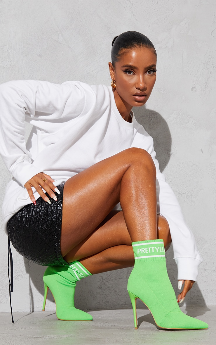 PRETTYLITTLETHING Neon Green Knitted Pointed Sock Boots 1