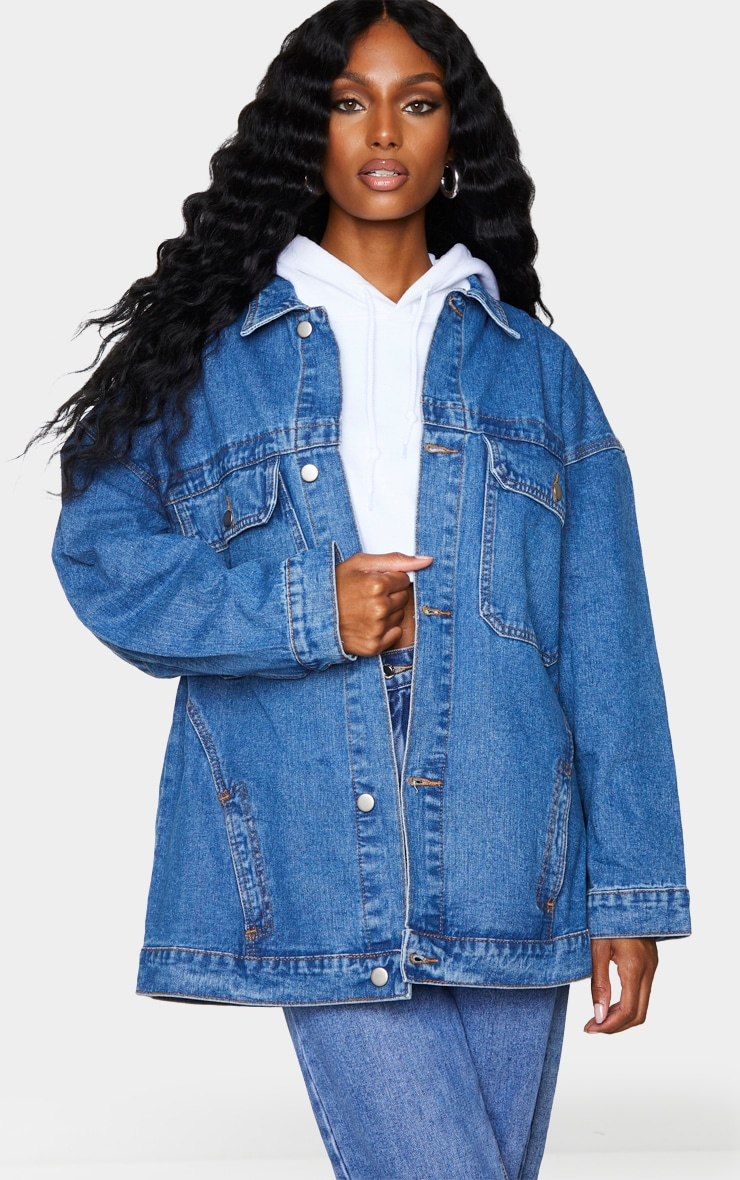 Mid Wash Oversized Pocket Detail Denim Shacket 1