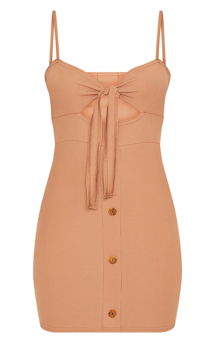 Camel Ribbed Tie Front Button Down Bodycon Dress 3