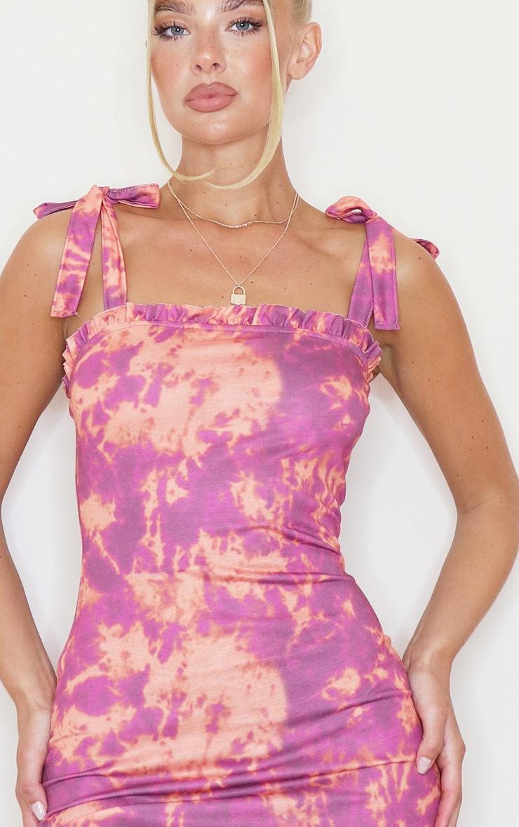Purple Tie Dye Frill Tie Shoulder Bodycon Dress 4