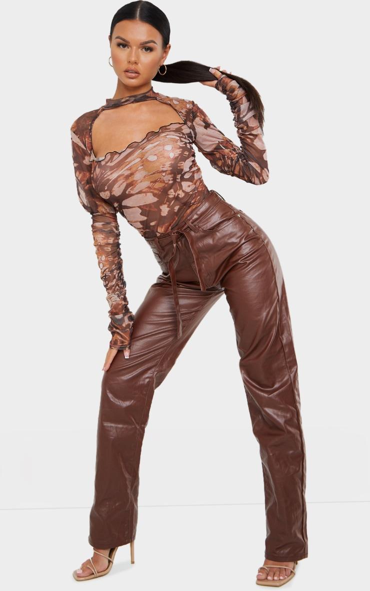 Brown Mesh Butterfly Renaissance Print Cut Out Front Bodysuit 3
