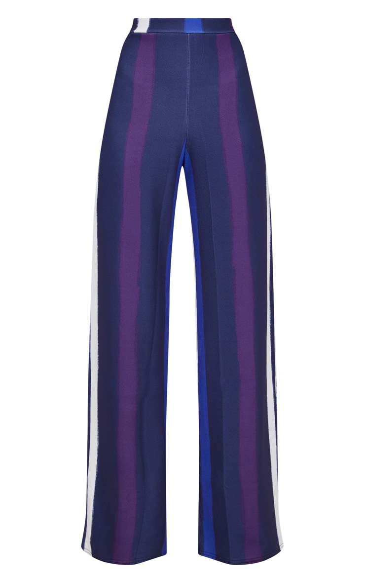 Navy Multi Thick Stripe Wide Leg Trousers  3
