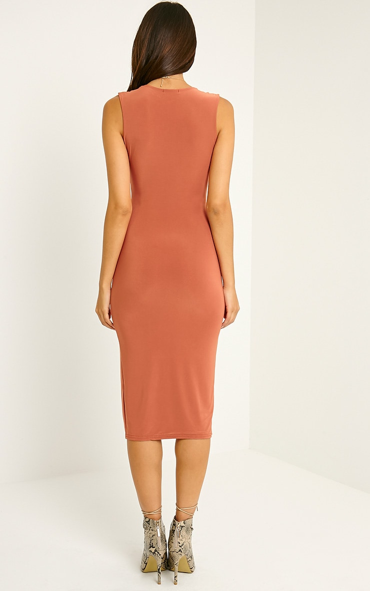Christa Rust Sleeveless Plunge Split Front Midi Dress 2