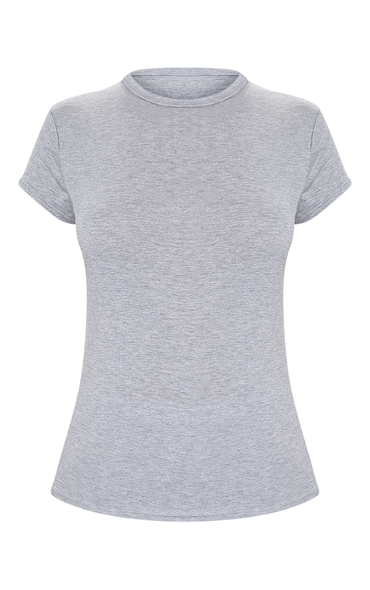 Basic Grey  Jersey Crew Neck T Shirt 5