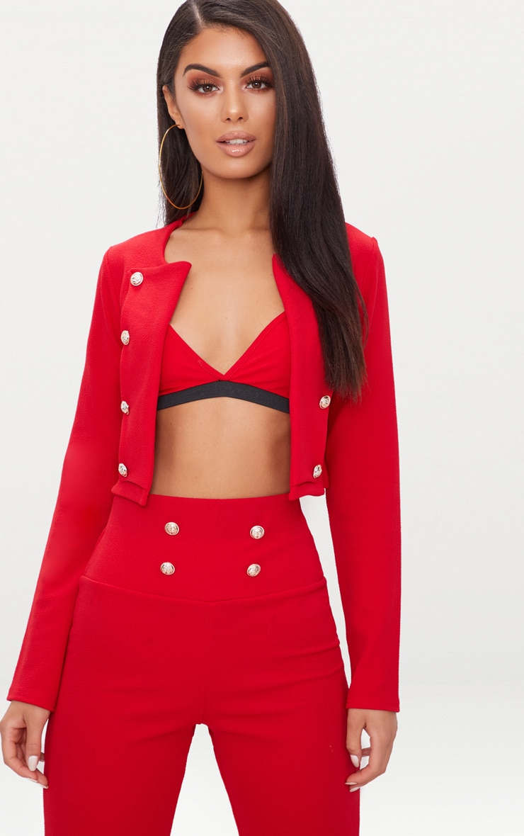 Red Military Cropped Jacket  1