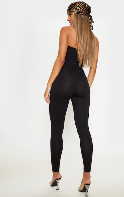 Black Ruched Detail Bandeau Jumpsuit