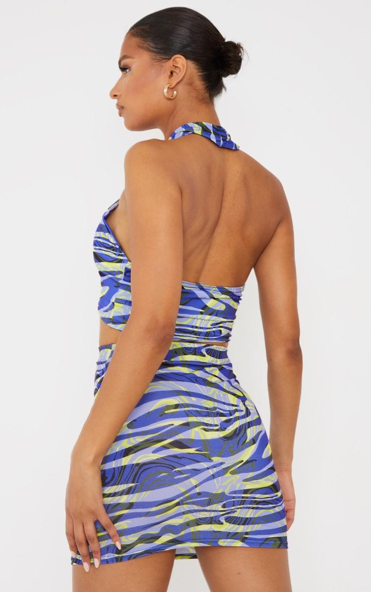 Blue Zebra Swirl Print Slinky Halterneck Cut Out Detail Top 2