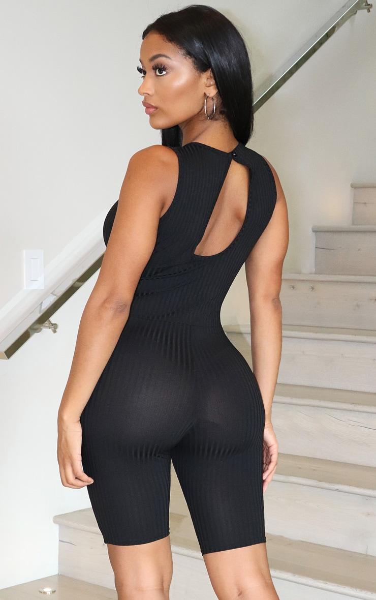 Shape - Combi moulante côtelée noire à coutures 2