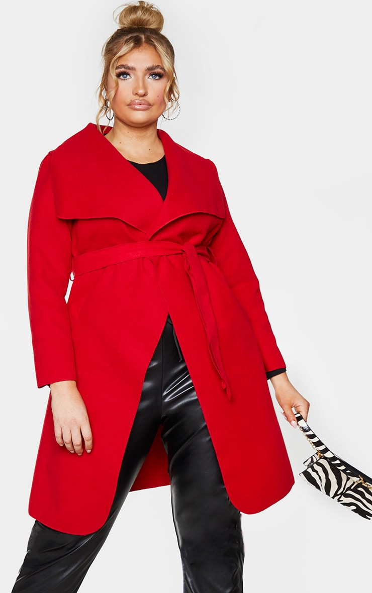 Plus Veronica Red Oversized Waterfall Belted Coat 3